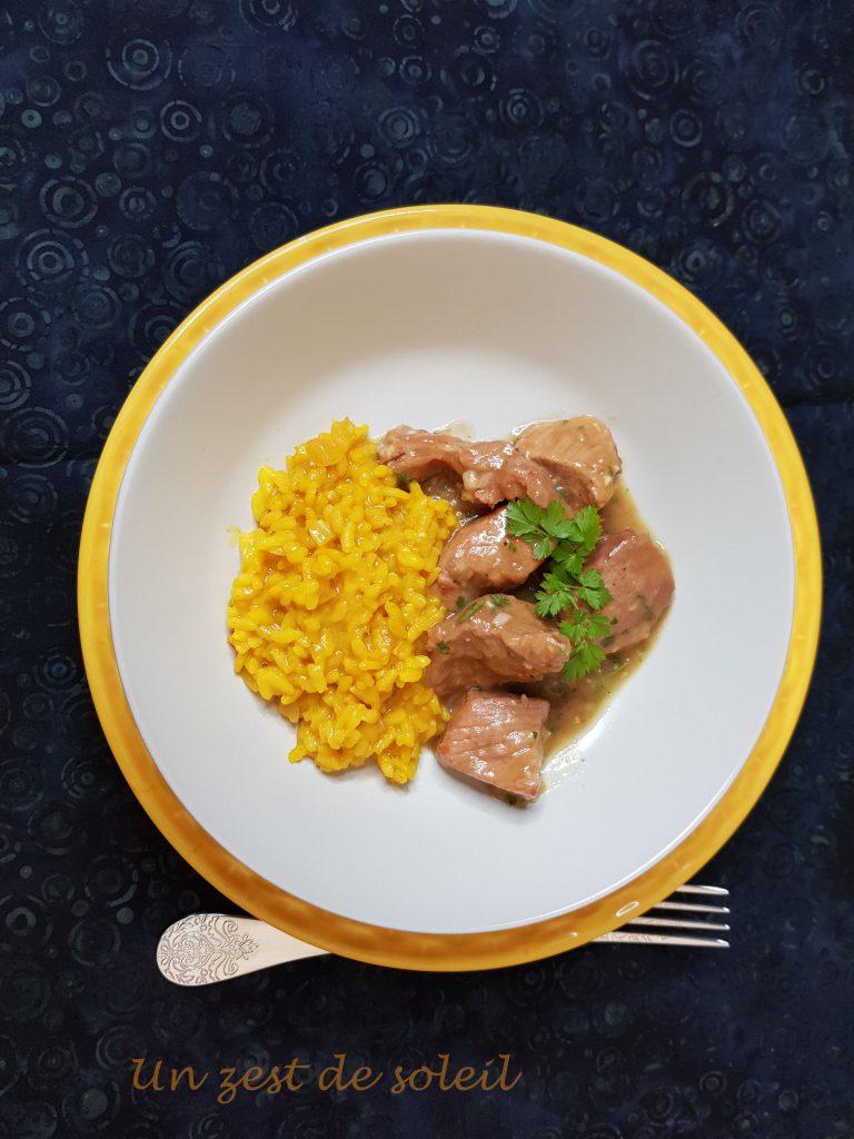 Mijoté de veau , risotto au safran